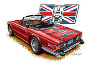 Sportscar Prints - Triumph TR-6 Red wire wheels Print by David Kyte
