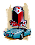 Sportscar Posters - Triumph TR_3 Sports Car in Blue Poster by David Kyte