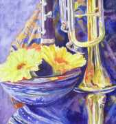 Trumpet Paintings - Triumphant Daisies by Jenny Armitage