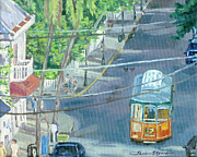 Key West Paintings - Trolley Tour of Key West Florida by Shalece Elynne