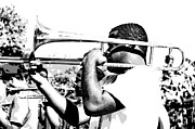 Streetscape Digital Art Acrylic Prints - Trombone Man bw Acrylic Print by Steve Harrington