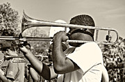Trombone Prints - Trombone Man sepia Print by Steve Harrington