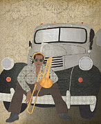 Trombone Digital Art - Trombone Musician and his 1946 Dodge pickup truck by Janet Carlson