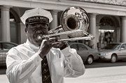 Kathleen K Parker - Trombone Player in French Quarter-sepia