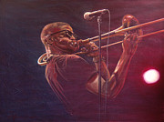 Trombone Painting Originals - Trombone Shorty by Frans Mandigers