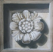 Grisaille Paintings - Trompe loeil of a Flower  by Gea Scheltinga