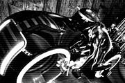 Tron Movie Prints - Tron Motor Cycle Print by Michael Hope