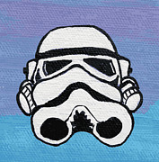 Intergalactic Space Painting Prints - Trooper on Purple Print by Jera Sky