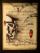Trooper Drawings Posters - Trooper on sheet music Poster by Francisco Javier