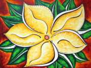 Flower Design Prints - Tropical Abstract Pop Art Original Plumeria Flower Painting Pop Art TROPICAL PASSION by MADART Print by Megan Duncanson