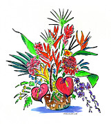 Bird Of Paradise Flower Painting Framed Prints - Tropical Basket Framed Print by Diane Thornton