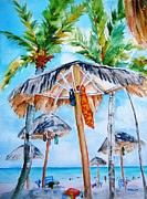 Beach Paintings - Tropical Beach Palapas by Carlin Blahnik