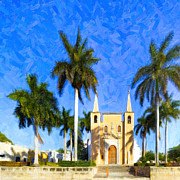 Barrio Framed Prints - Tropical Church in the Barrio of Santa Ana Framed Print by Mark E Tisdale