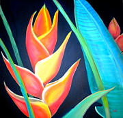 Flower Arrangement Paintings - Tropical by Debi Pople