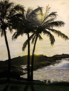 Trees At Sunset Paintings - Tropical Evening by Dottie Kinn