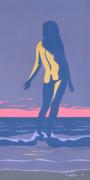 Tropical Exotic Nude Surf Sunset Tasteful Original Pop Art Nouveau 80s Painting Purple Pink Print by Walt Curlee