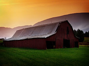 Farming Barns Digital Art Posters - Tropical Farm Sunrise Poster by Lj Lambert