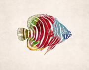 Animal Drawing Posters - Tropical Fish Drawing Poster by World Art Prints And Designs
