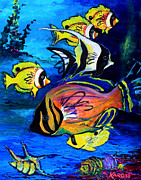 Impressionism Mixed Media Metal Prints - Tropical Fish Metal Print by Karon Melillo DeVega