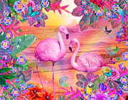 Seaside Digital Art Posters - Tropical Flamingo Poster by Alixandra Mullins
