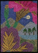 Floral Tapestries - Textiles - Tropical Flowers In The Moonlight by Jan Schlieper