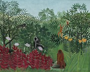 Monkey Paintings - Tropical Forest with Monkeys by Henri J F Rousseau