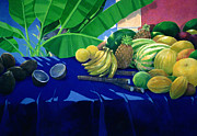 Mango Painting Posters - Tropical Fruit Poster by Lincoln Seligman