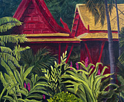 Bangkok Paintings - Tropical Getaway jungle with red bungalows Jim Thompson Museum painting by Jaime Haney