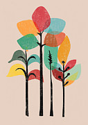 Abstract.trees Digital Art Prints - Tropical Groove Print by Budi Satria Kwan