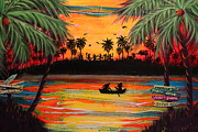 Gators  Paintings - Tropical Halloween in Party Cove by Mary Nicholson