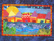 Sunset Greeting Cards Tapestries - Textiles Prints - Tropical Harmony Print by Susan Rienzo