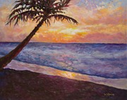 Beach Sunset Paintings - Tropical Interlude by Eve  Wheeler