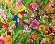 Parrot Print Paintings - Tropical Joy by Suzanne Brabham