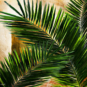 Bathroom Art Prints - Tropical Leaves Print by Lourry Legarde
