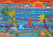 Colorful Landscape Tapestries - Textiles Posters - Tropical Moments Poster by Susan Rienzo