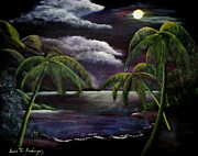Puerto Rico Paintings - Tropical Moonlight by Luis F Rodriguez