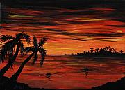 Nature Scene Paintings - Tropical Night by Anastasiya Malakhova