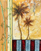 Tropic Paintings - Tropical Palm Tree Coastal Decorative Art Original Painting TROPICAL BREEEZE I by MADART Studios by Megan Duncanson