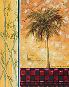 Tiles Painting Framed Prints - Tropical Palm Tree Coastal Decorative Art Original Painting TROPICAL BREEEZE II by MADART Studios Framed Print by Megan Duncanson