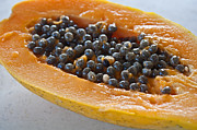 Cut In Half Photos - Tropical Papaya Fruit Closeup by Valerie Garner