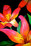 Large Flowers Prints - Tropical Punch Print by Debi Pople