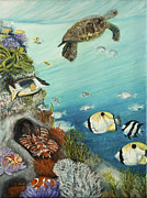 Under The Ocean Originals - Tropical Reef Fish with Green Sea Turtle by Gail Darnell