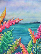 Greens Greeting Cards Prints - Tropical Scene Print by Chrisann Ellis