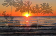 Beach Sunsets Posters - Tropical Spirits - Palm Tree Art By Sharon Cummings Poster by Sharon Cummings