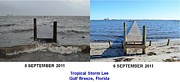 Gulf Breeze Posters - Tropical Storm Lee Difference a Day Makes Poster by Jeff at JSJ Photography