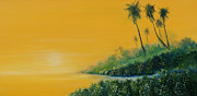 Palm Trees Paintings - Tropical Sunrise by David Kacey