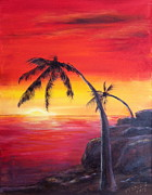Red Sunset Painting Framed Prints - Tropical Sunset Framed Print by Bozena Zajaczkowska