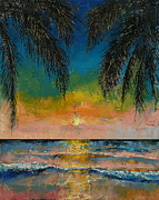 Abstract Palm Tree Prints - Tropical Sunset Print by Michael Creese