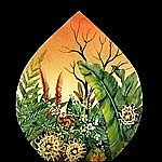 Reverse Hand Painted Glass Art - Tropical Surise by Mikael  Darni