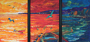 Sea Shore Prints Painting Originals - Tropical Trance Triptych by Estela Robles Galiano